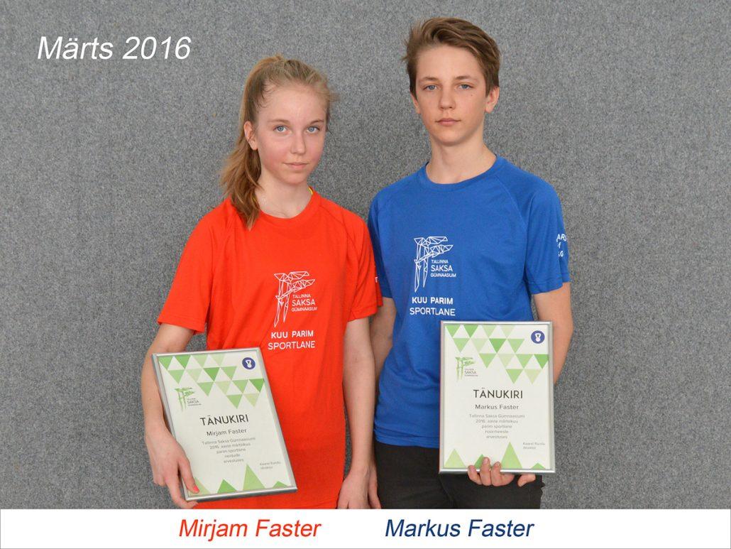 TSG kuu parim sporlane - märts 2016