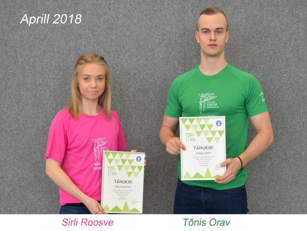 kuu parim sportlane - aprill 2018